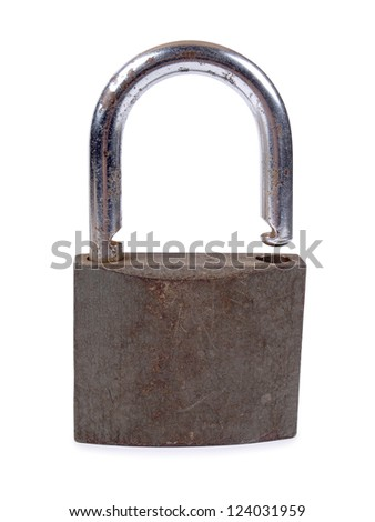 Color photo of an old metal lock - stock photo
