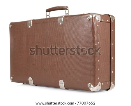 Color photo of an old suitcase on white background - stock photo