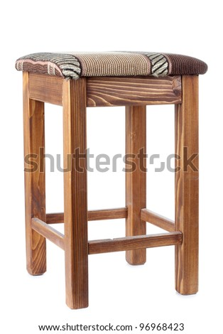 Color photo of an old wooden stool - stock photo