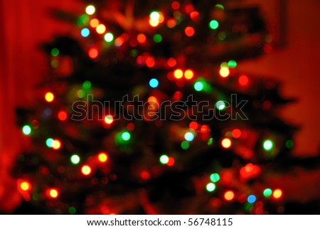 Color photo of blurred Christmas lights at night - stock photo