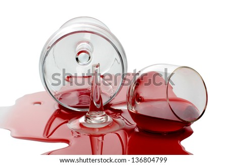 Color photo of broken glass and spilled wine - stock photo
