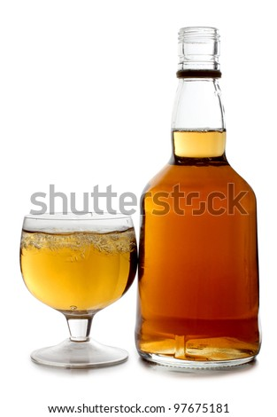 Color photo of glass with whiskey shots - stock photo