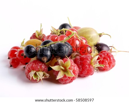 Color photo of pile of different berries