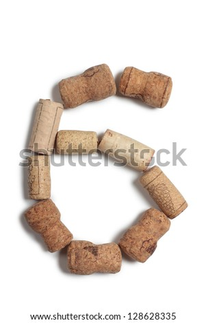 Color photograph number of alphabet in wine corks - stock photo