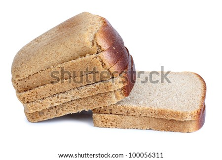 Color photograph of cut bread