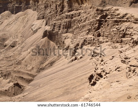 Color photograph of desert sandy areas during drought - stock photo