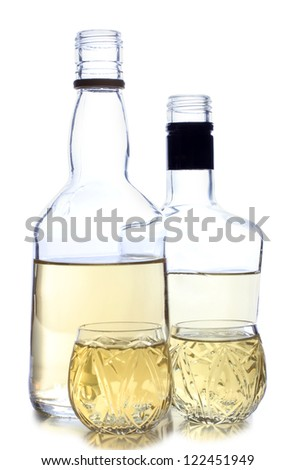 Color photograph of glasses of whiskey - stock photo