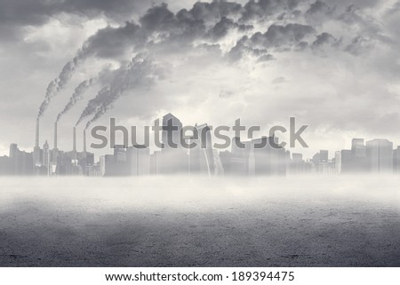 Color photograph of industrial buildings  - stock photo