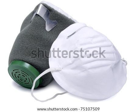 Color photograph of mask and respirator - stock photo