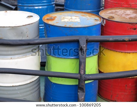 Color photograph of steel drums with gasoline - stock photo