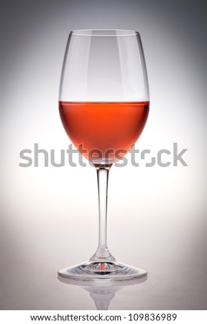 Color picture of a glass of rose wine.