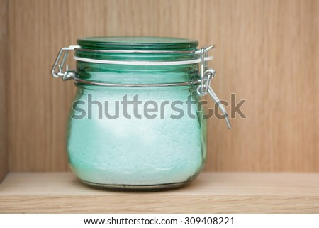 Color picture of a transparent jar with salt crystals