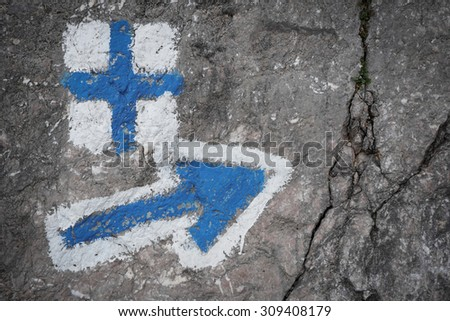Color picture of orientation signs for trekking tourists in the mountains - stock photo