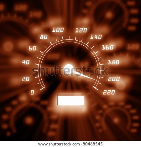 color picture of speedometer on a car dashbpard - stock photo