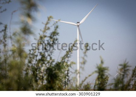 Color picture of windmills for renewable electric energy production - stock photo