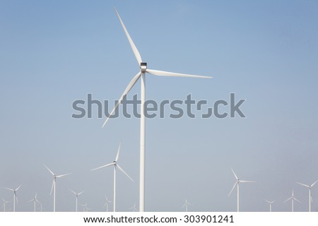 Color picture of windmills for renewable electric energy production