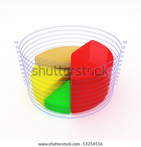 Color pie diagram. 3d illustration on white background - stock photo