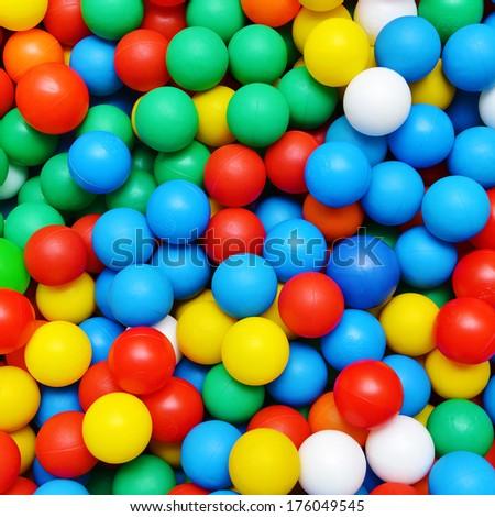 color plastic balls on  children's playground - stock photo