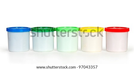 color plastic boxes in row isolated on white - stock photo
