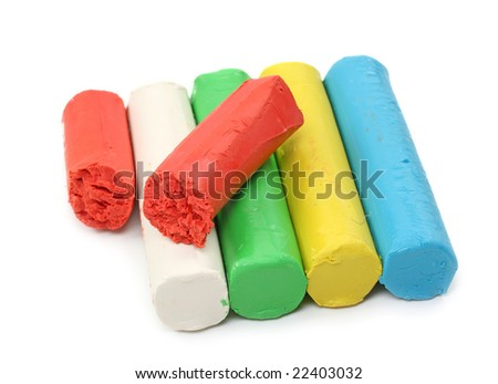 Color plasticine isolated on white background