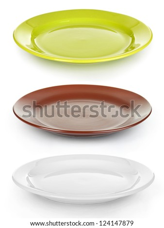 color plates set isolated on white - stock photo