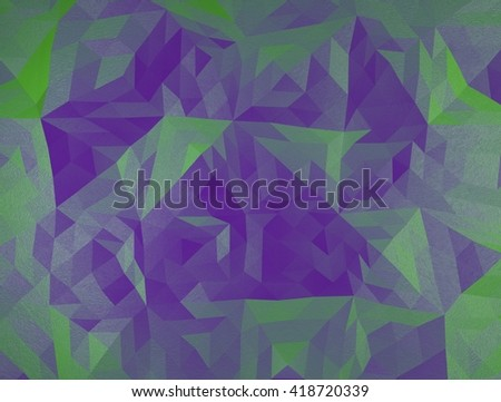 color polygonal triangle 3d  illustration. Green and violet - stock photo