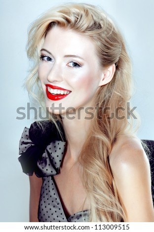 color portrait woman beauty face red lips smiling bow design dress white teeth - stock photo