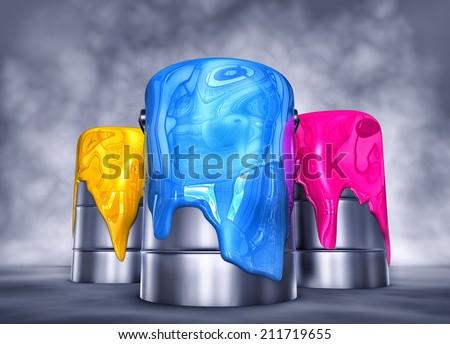 color pots - stock photo
