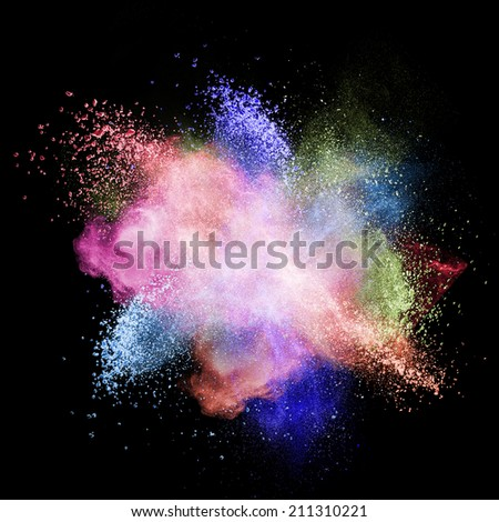 Color powder explosion isolated on black background - stock photo