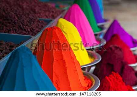 Color powder on the indian market, India - stock photo