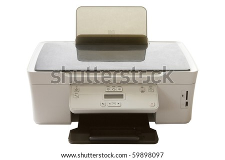 color printer with usb port and slot for compact memory cards isolated on white background - stock photo