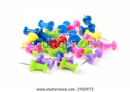 Color push-pins isolated on white. - stock photo