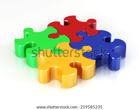 Color puzzle on white background