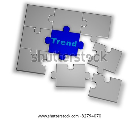 Color puzzle rendered from 3D illustration with trend word - stock photo