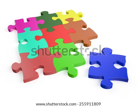 color puzzles isolated on white background