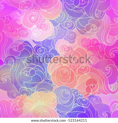 Color raster abstract hand-drawn pattern with waves and clouds in neon pastel colors. Retro gothic style. Colorful rainbow concept.