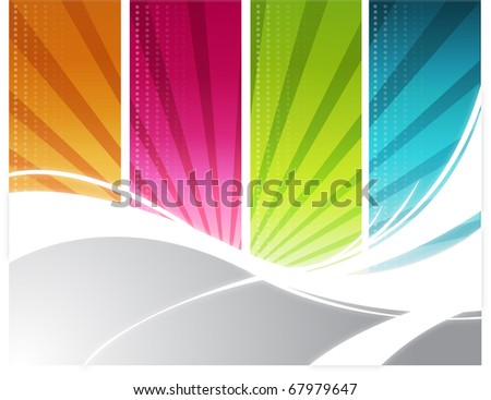Color rays background - stock photo