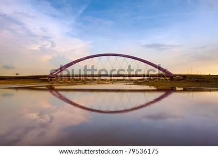 Color Red Bridge Sunset, Chuk Yuen, Taoyuan County, Taiwan - stock photo