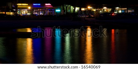 color reflected on the sea water - stock photo