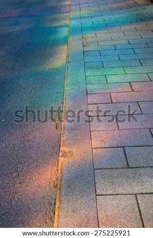 color road, Montreal, Quebec, Canada - stock photo