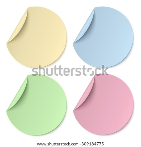 Color round paper stickers isolated - stock photo