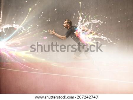 color run marathon concept - stock photo