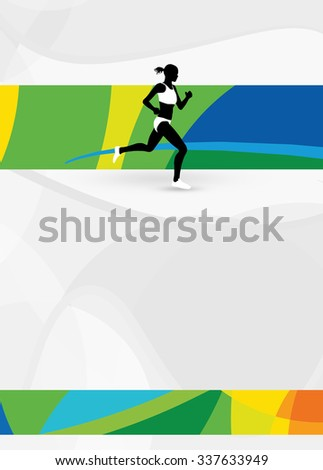Color running sport flyer or poster background with empty space