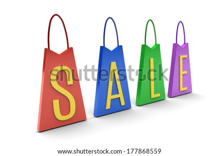 Color Sale Tags on white background  illustration