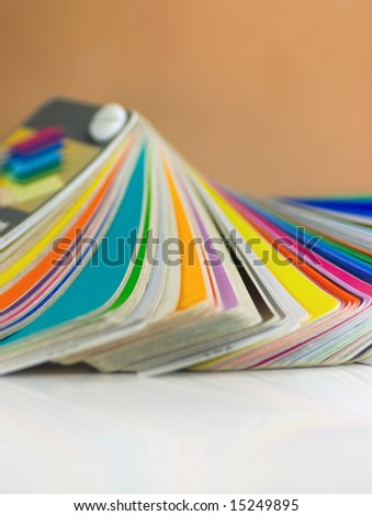 Color samples fanned out on a white background