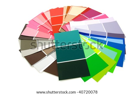 color samples for painting in circle, over white background - stock photo