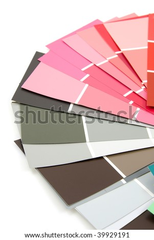 Color samples for painting, over white background - stock photo