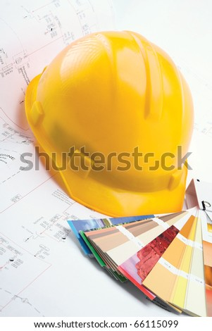Color samples for selection with house plan - stock photo
