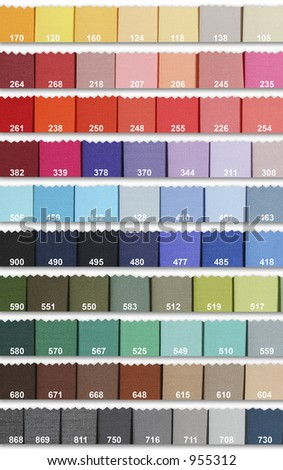 Color samples in fabric - stock photo