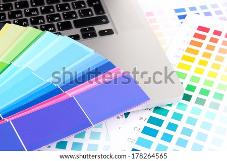 Color samples on keyboard close up